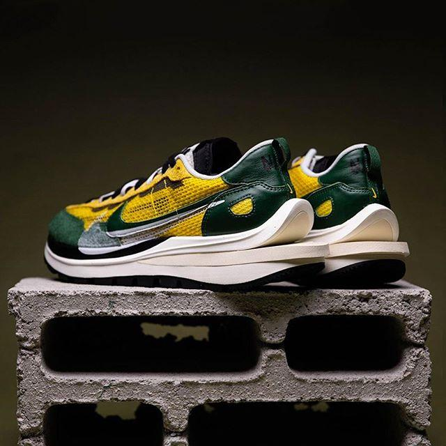 "sacai x Nike VaporWaffle ""Tour Yellow"" Closer Look Release Information Drop Date RepGod888 Images On Foot First Look Chitose Abe Technical Vintage Retro Runner Mesh Suede Leather Collaboration HYPE Heat Sneakers Kicks Footwear Shoes"
