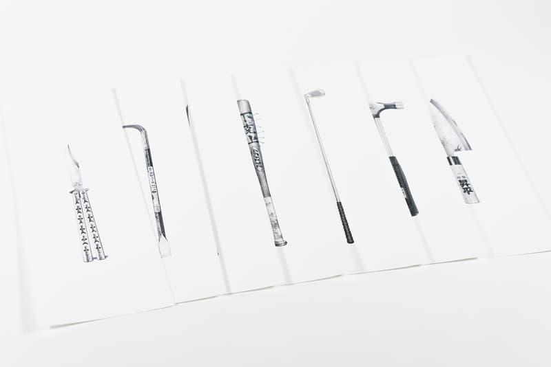 "Shohei Otomo 'The Seven Legendary Swords' Print open edition butterfly knife crowbar bokken bat golf-club hammer sushi knife ""Reiwa"" SHDW.gallery"