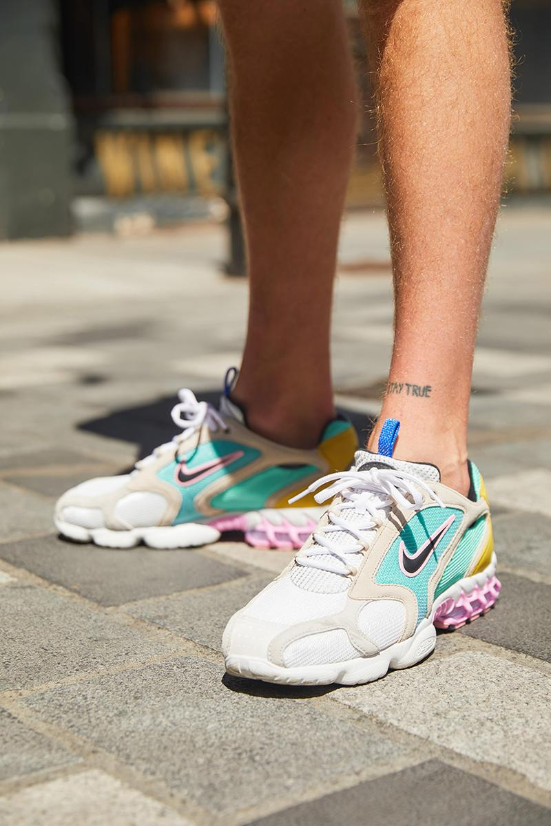 size? x Nike Air Zoom Spiridon Cage 2 Carnaby street london pink yellow blue turquoise welcomes the world first look buy cop purchase