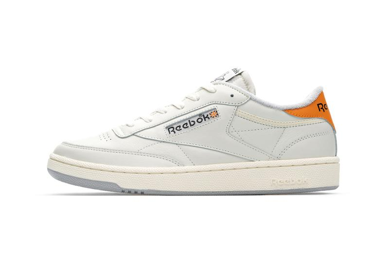 reebok club c classics by size release information chalk white leather french terry orange black detailing buy cop purchase collaborations