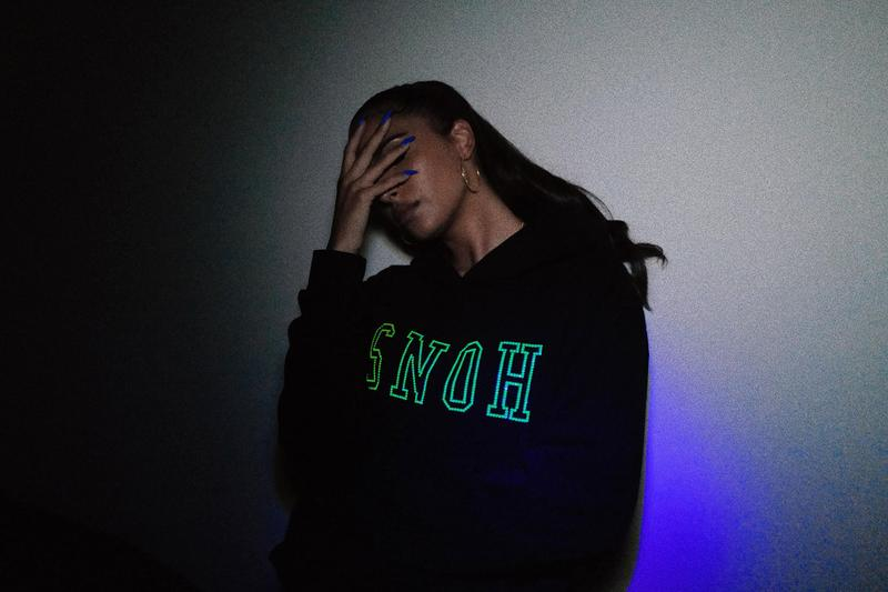 RSVP Gallery x  Snoh Aalegra Swarovski Capsule Collection hoodie tote bundle 'Ugh, Those Feels Again' neon green vinyl edition crystals Inner City Arts