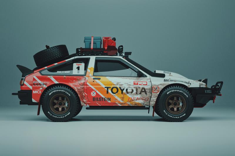 Stevo Chang Off-Road Toyoto AE86 Render Track Hype Trueno racing off-road baja livery Ivan Ironman Stewart