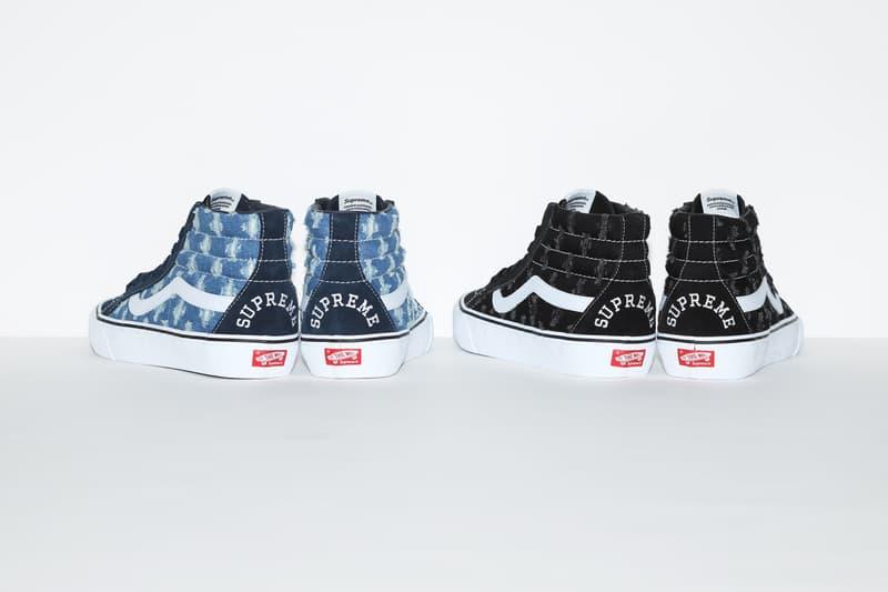 Supreme x Vans Sk8Hi sk8 hi pro SlipOn slip on Distressed Denim Pack blue black summer spring 2020 july release information price hole punch pattern