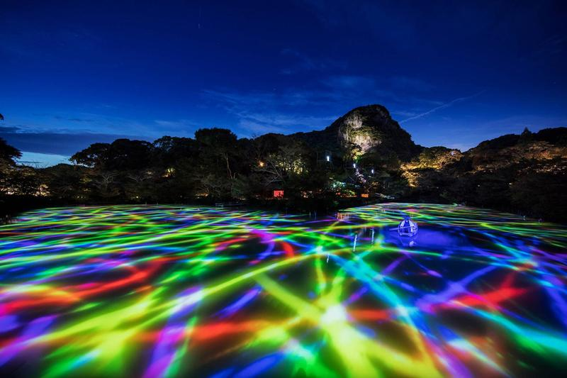 """teamLab Annual Outdoor Exhibition in Japan Kyushu Forest of Mifuneyama """"A Forest Where Gods Live"""" digital projections installations garden"""