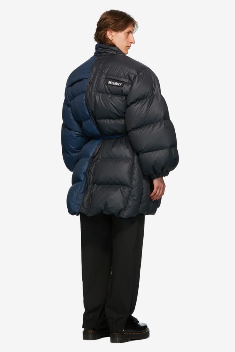 VETEMENTS Blue Black Security Puffer Jacket puffer jackets ssense outerwear fall winter 2020 collection