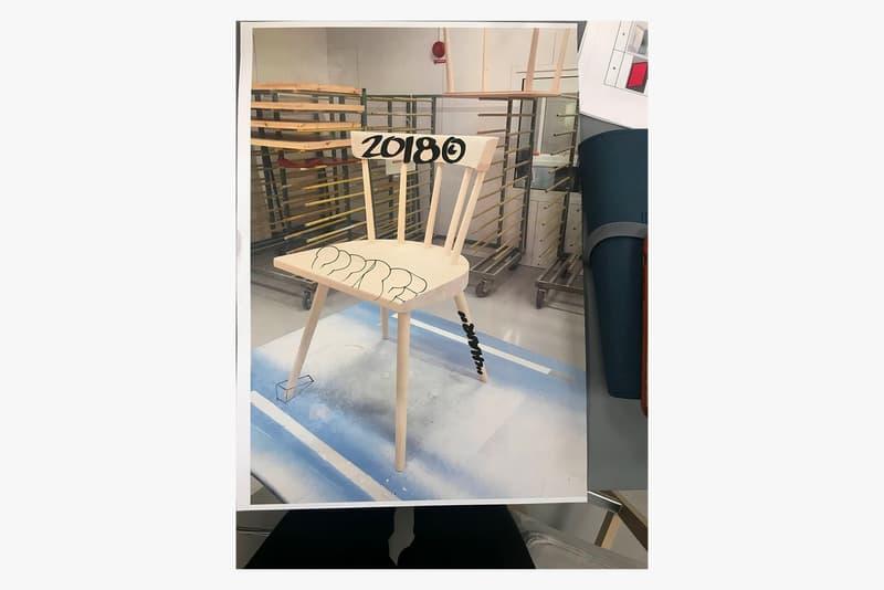 virgil abloh custom illustration signed markerad ikea chair anti racism black lives matter design yard sale auction charity