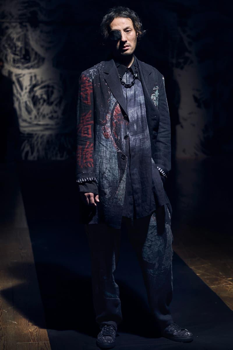 Yohji Yamamoto Spring Summer 2021 Collection Paris Fashion Week runways japanese designer pfw black monochromatic digital