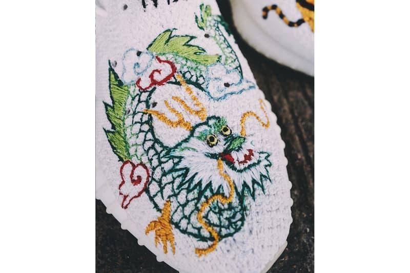 199X Yeezy 350 V2 Souvenir Jacket Custom Sneakers Sukajan Tiger Dragon sneakers kicks footwear