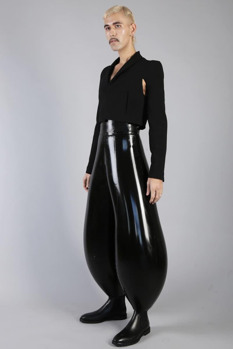 Harri Harikrishnan Striped Swirl Black Limo Inflatable Trousers London College of Fashion Student Presentation London Fashion Week Instagram Viral Designer Emerging