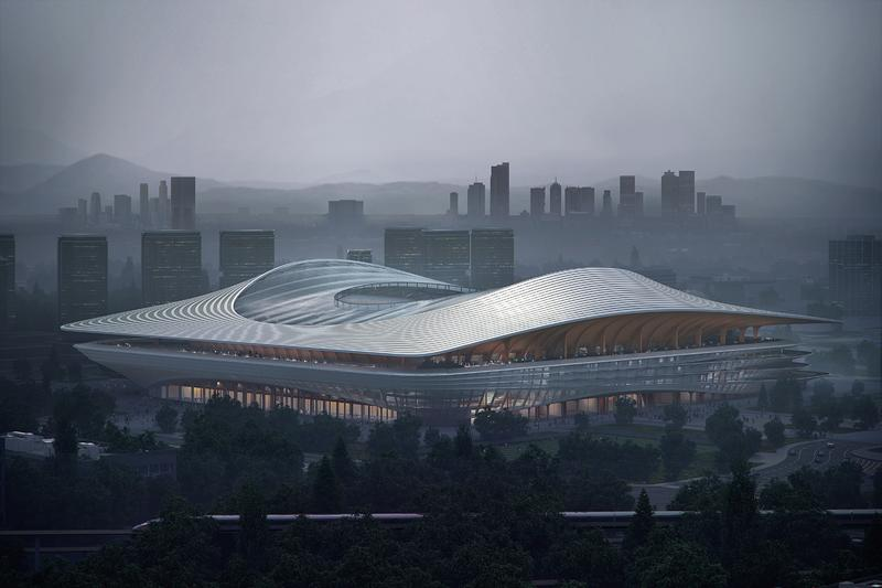 Zaha Hadid Architects Xi'an International Football Centre china fengdong new district render design layout soccer