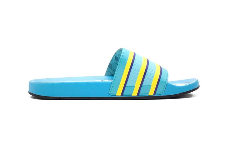 "adidas Originals adilette ""ZX 8000 Aqua"" Footwear Sandal Slide Shoe Release Information Drop Shop 43einhalb Blue Yellow Print Three Stripes OG Summer Indoors At Home"