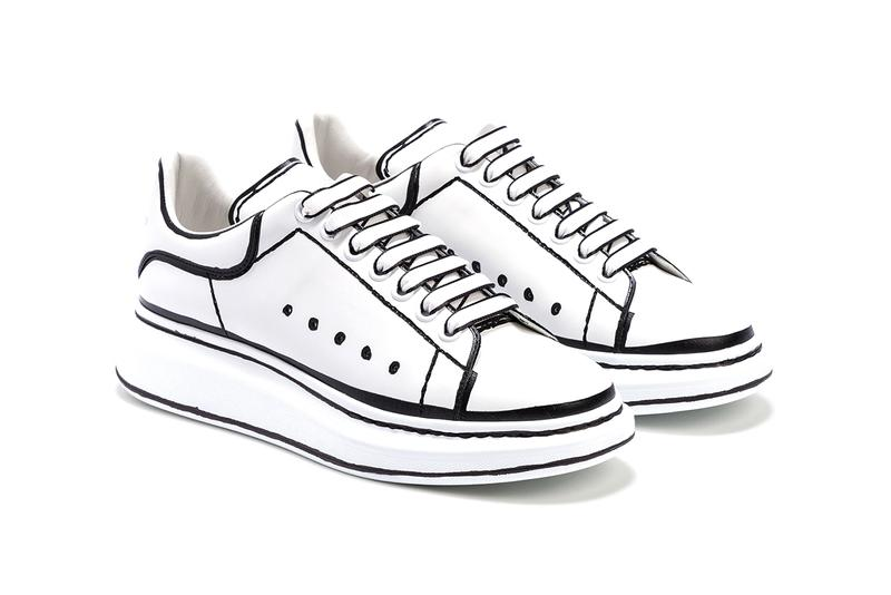 "Alexander McQueen Oversized Sneaker ""White/Black"" Joshua Vides Inspired Look Aesthetic Marker Sharpie Pen Outline Shoes DIY Design Hand Drawn Classic Chunky Footwear HBX"