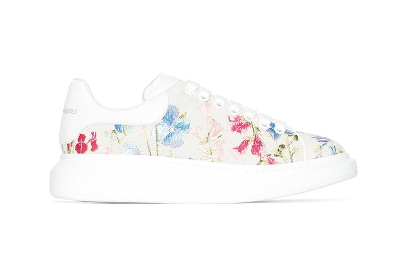 Alexander McQueen Oversized Sneaker Floral Embroidery Leather Spring Summer 2020 Chunky White Sneakers Luxury Designer Footwear Trends Floral Colorful SS20 Pattern Print Bold Loud Shoes Browns Release Cop Online Shop