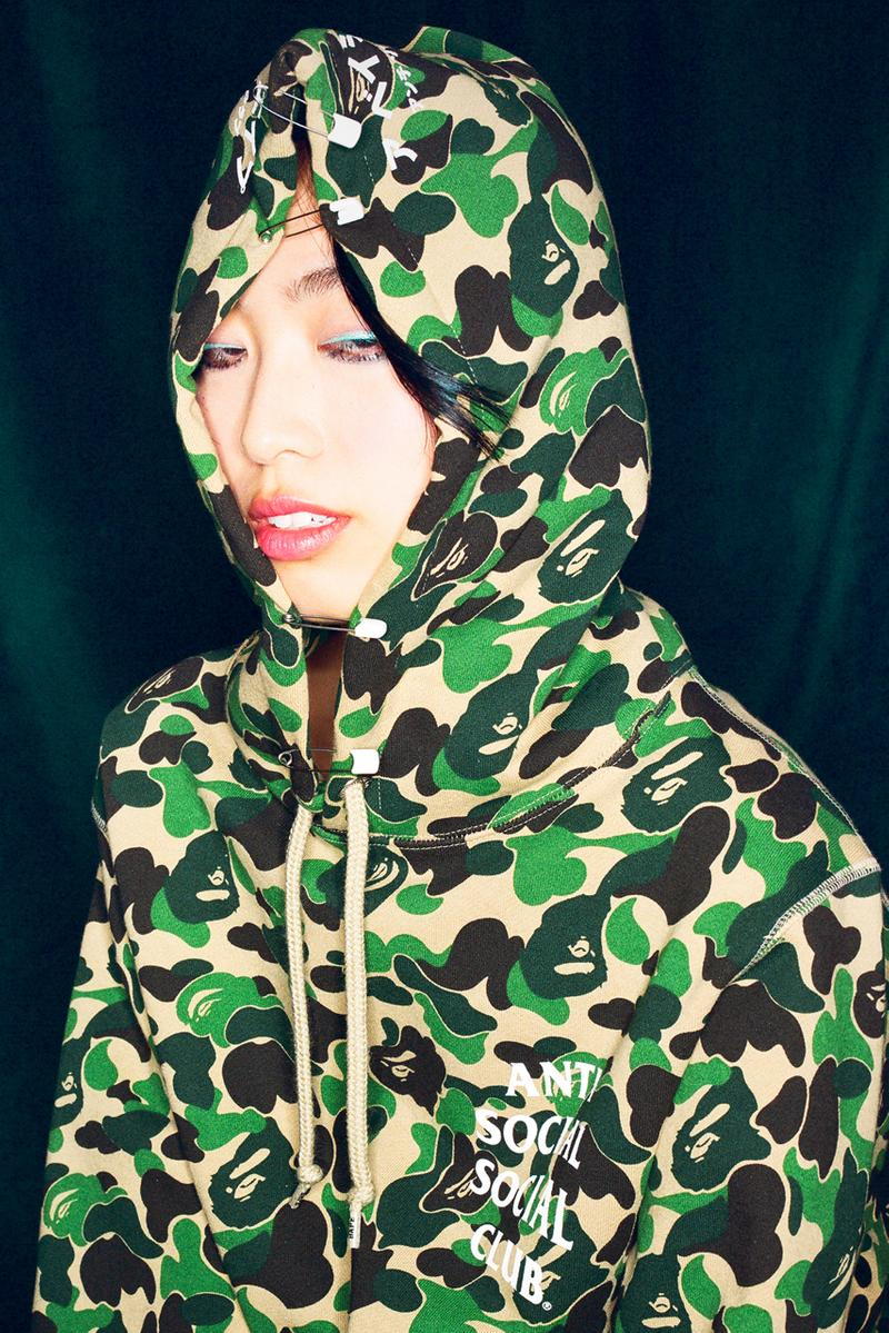 anti social social club bape fall 2020 collaboration capsule collection 1st camo green pink blue official release date info photos price store list buying guide