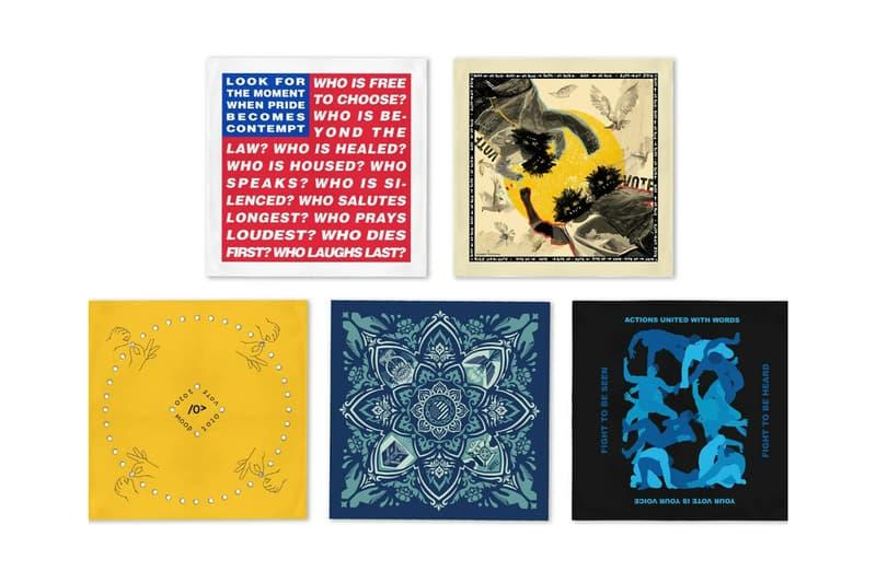 Artist-Designed Bandanas for Voter Registration eBay Artists Band Together democracy barbara kruger hank willis thomas jenny holzer alex israel shepard fairey marilyn minter