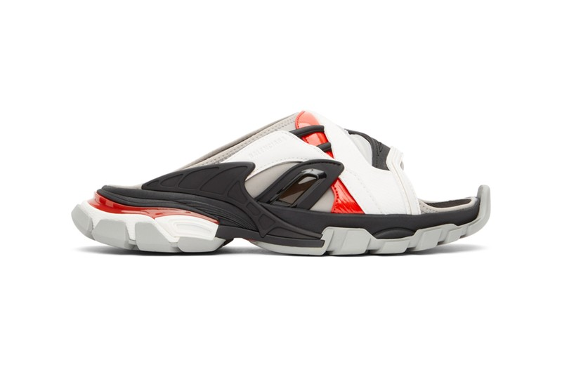 Balenciaga Accents Monochromatic Track Sandals With Pops of Red
