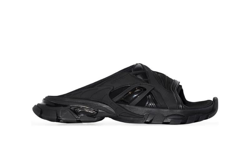 Balenciaga Track Slides Sandal Release Info black leather slip-on