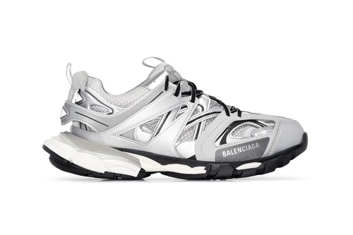 Balenciaga Drops Track Sneaker In Snazzy Silver Colorway