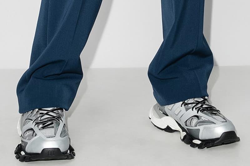 "Balenciaga Track Sneaker ""Silver"" Sneaker Release Information Drop Date Closer Look Browns Menswear High End Luxury Fashion House Demna Gvasalia Chunky Technical Shoes Footwear Trends"