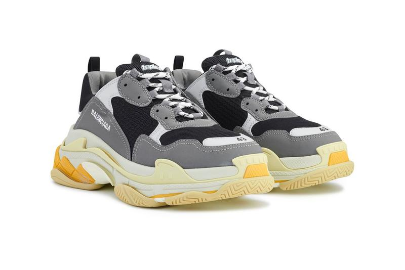 "Balenciaga Triple S ""Gray/Yellow"" Release Information Drop Date Chunky Sneaker Demna Gvasalia Trends Footwear Suede Leather Mesh Sole Unit Stacked Cream Y2K Bulky"