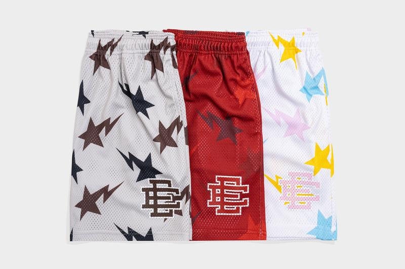 BAPE and Eric Emanuel Basketball Shorts Capsule Collection basketball shorts mesh lightning logos TRIBAL CAMO MULTI CAMO RED COLOR CAMO