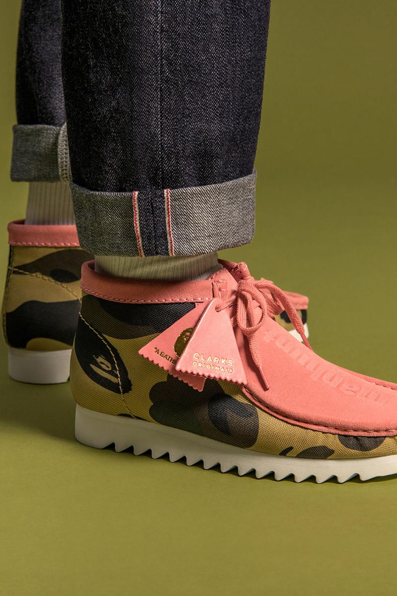 a bathing ape Bape Clarks Originals fall winter 2020 Wallabee desert boot release info when do they drop how to buy