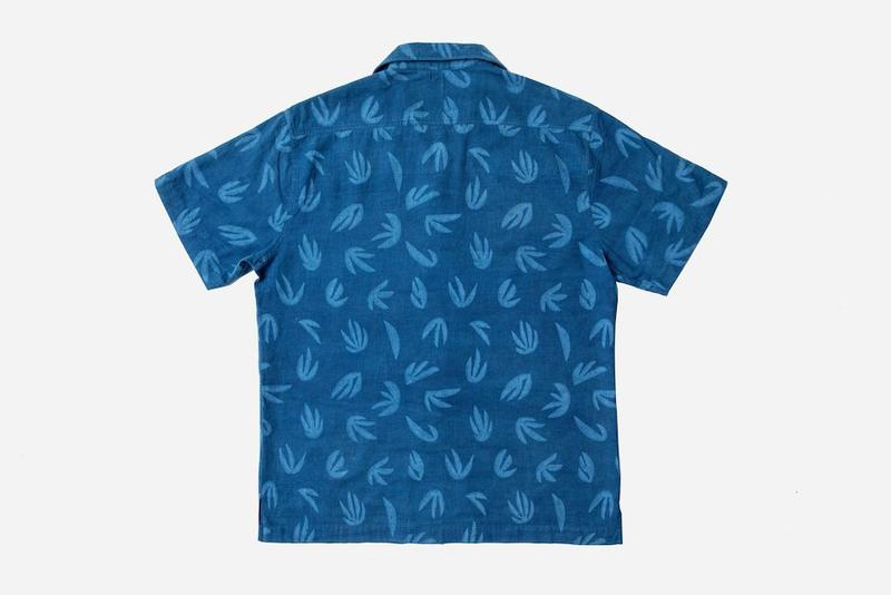 Cody Hudson x 3sixteen Capsule Collection Release leisure shirt bandana 'palm' print abstract plant forms indigo dyed custom