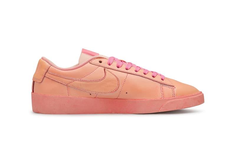 "COMME DES GARÇONS GIRL x Nike Blazer Low ""Pink"" salmon air brush unique handmade unique colorway womens size summer 2020"