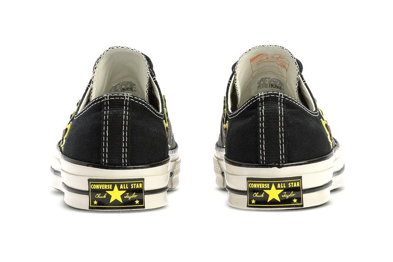 """Converse Chuck 70 """"Black/Speed Yellow/Egret"""" Flame Motif Leather Canvas Low Top Sneaker Footwear Shoe Trainer Release Information Drops Drop Date HBX Fire Pattern Print Top Stitching"""