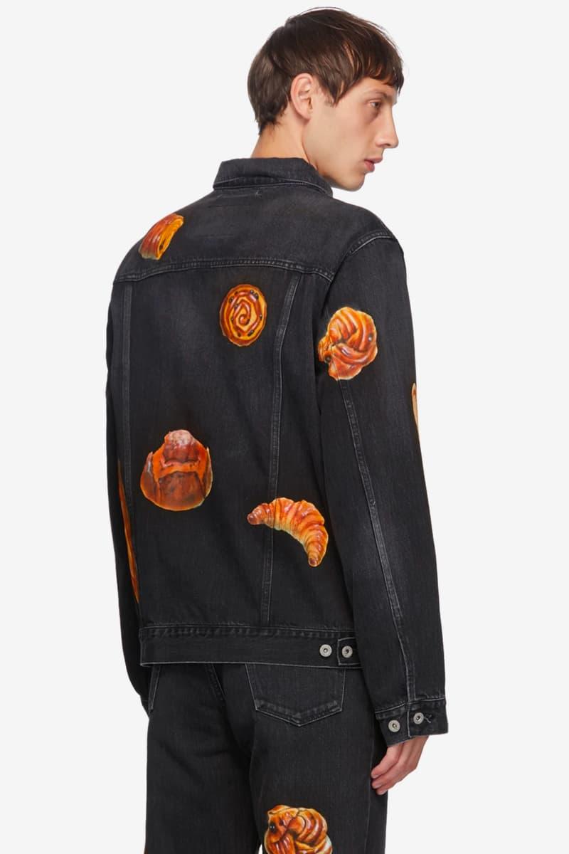 doublet Hand Painted Denim Food Jacket black indigo Boulangerie croissant danish baguette sushi pastry tamago ikura ebi maki roll saba