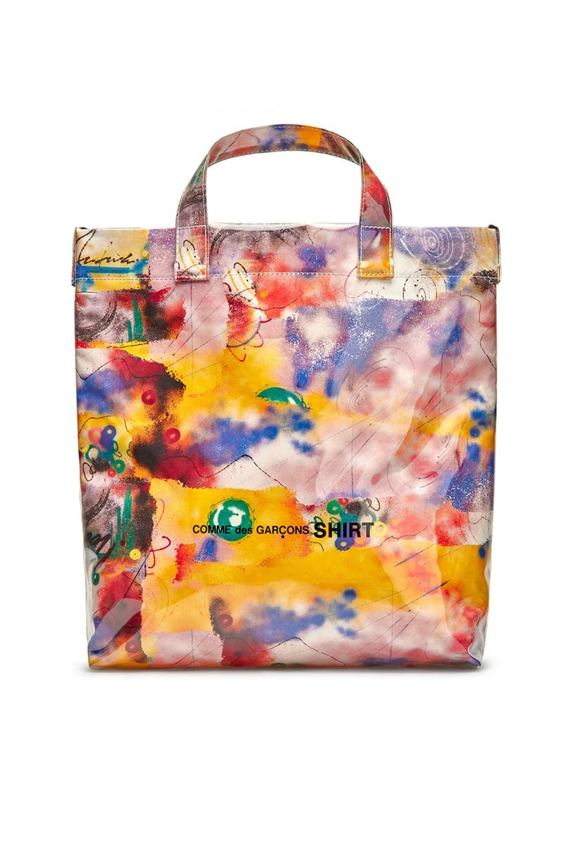 Futura x COMME des GARÇONS SHIRT Fall/Winter 2020 Collection Collaboration Release Drop Closer Look Shirts Mens Tote Bags Coach Jacket T-Shirts FW20 Rei Kawakubo Graffti Colorful Print