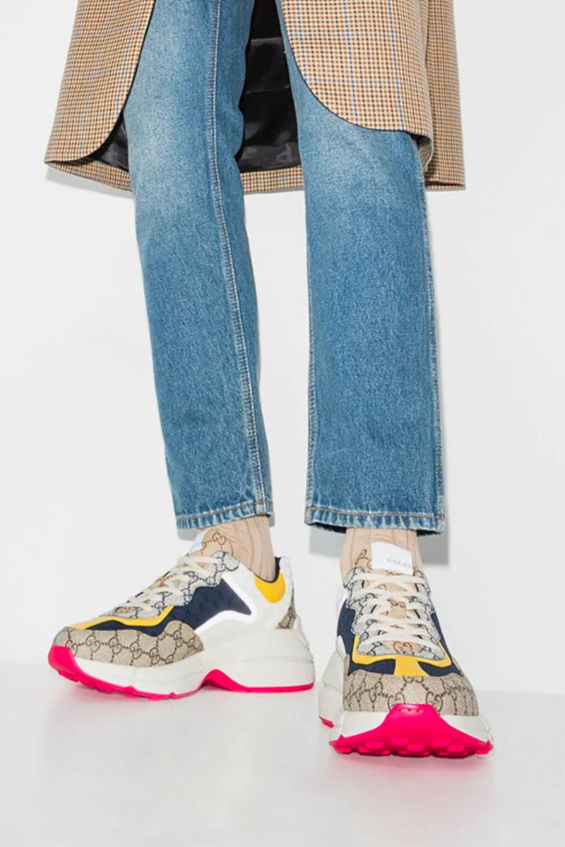 Gucci Multicoloured Rhyton GG Monogram Sneakers Release Browns Fashion sneaker kicks trainers luxury shoes