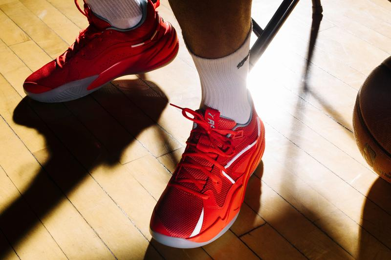 j cole dreamville puma hoops rs dreamer basketball shoe sneaker all red silver white release date info photos price store list buying guide Danny Green Kyle Kuzma Derrick Jones Jr skylar diggins smith Katie Lou Samuelson
