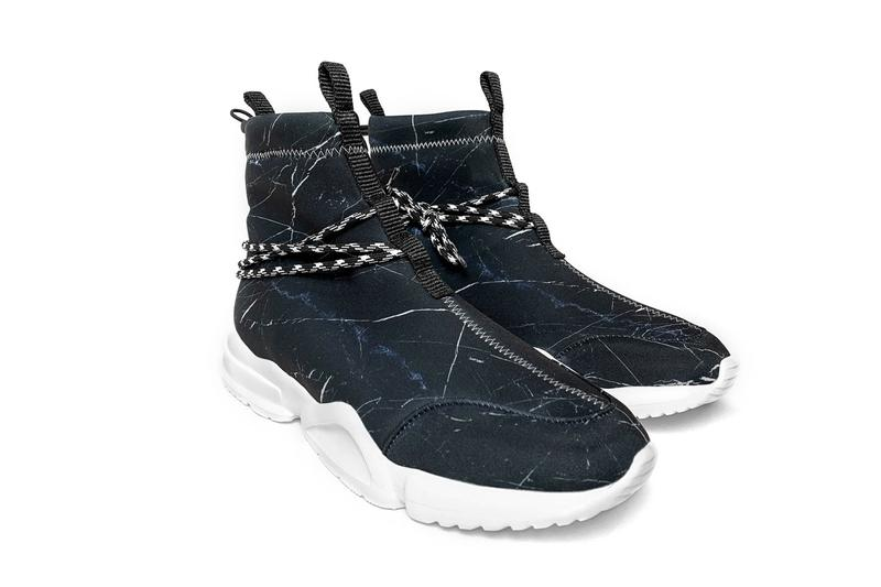 John Geiger Black Marble 002 Sneaker Release stitching white soles blue accents