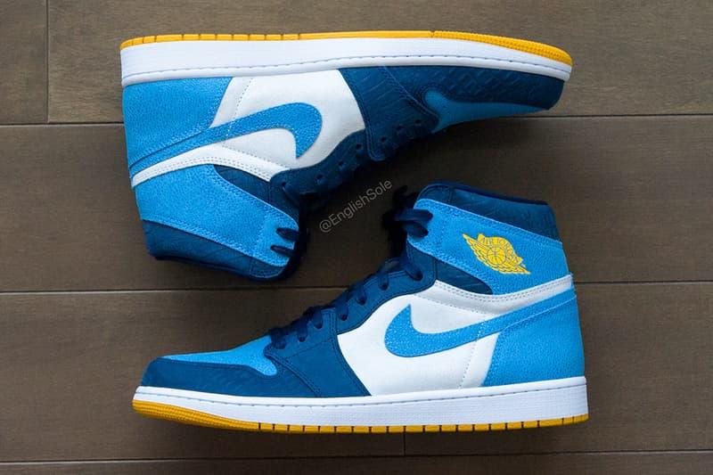"Jordan Brand Air Jordan 1 ""Marquette"" PE Player Exclusive 1 of 40 Super Rare Sneaker Basketball AJ1 Blue Yellow Faux Stingray Croc Leather Suede University of Milwaukee Health Science"