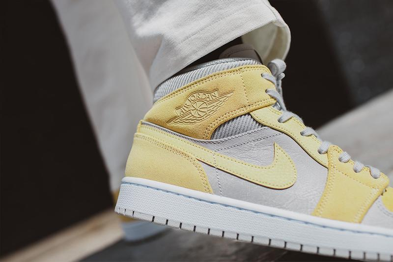 Jordan Brand Air Jordan 1 Mid SE DA4666-100 Baby Blue Cream Ribbed Knit Suede Leather Yellow Cool Gray Leather Footwear Sneaker Release Drop Date Information First Look AJ1 Raffles