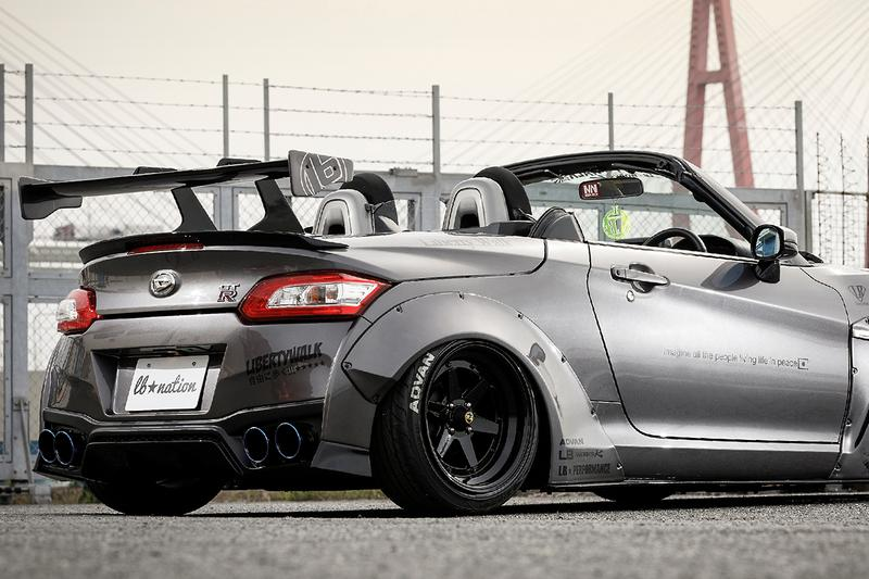 Liberty Walk Daihatsu Copen Nissan GT-R Kei Cars Tuning Closer Look Japanese Tuned Automotive 658 cc three-cylinder engine Bodykit Widebody Kit