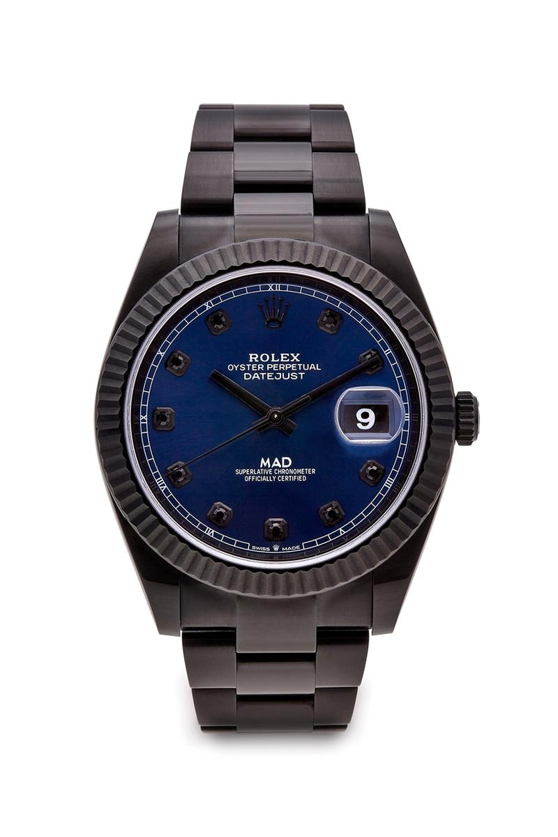 MAD Paris Customised Rolex Datejust 41 With Blue Dial Closer Look Watches Dover Street Market London £26,390 GBP Timepiece Matte Black Blue