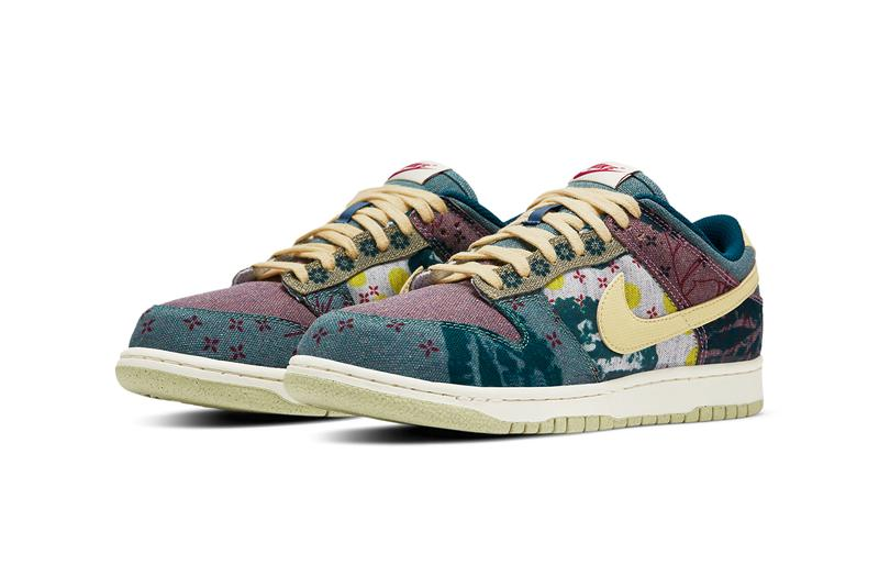 nike sportswear dunk low community garden lemon wash multi color midnight turquoise cardinal red cz9747 900 official release date info photos price store list buying guide