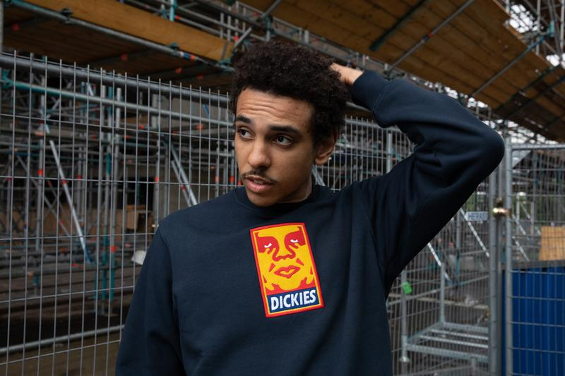 OBEY x Dickies Life Collection Lookbook Mens Womens Clothing Collaboration First Look Graphic Prints Unlined Eisenhower Jacket Work Shirt 873 Slim Straight Work Pant Face Logo