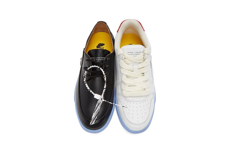 Off-White™ Black & White Half-Half Sneakers Mismatched Shoes Footwear Derby Leather Virgil Abloh Footwear Release Information Red Logo Arrows Cross X Marble Tag