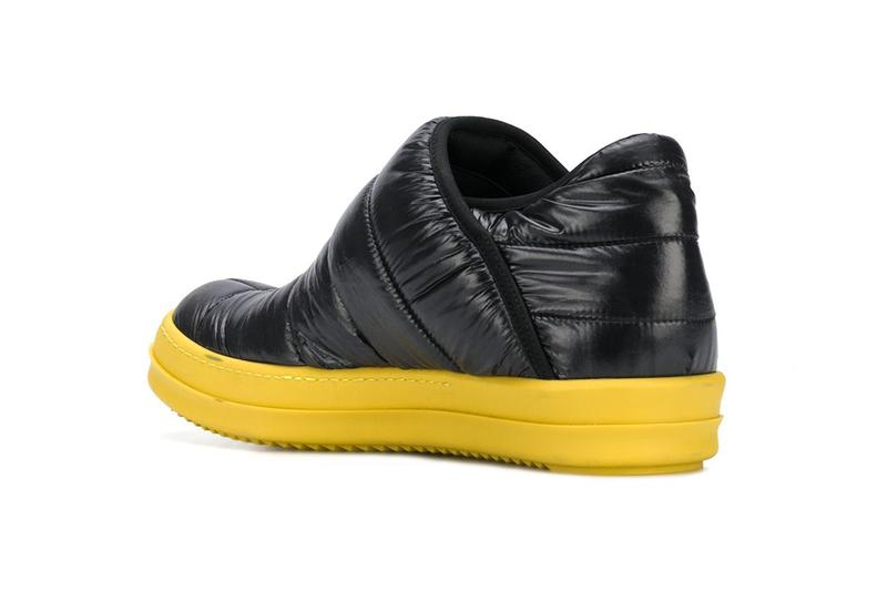 Rick Owens drkshdw quilted color block sneakers black yellow rubber sole info release Farfetch how much where to cop