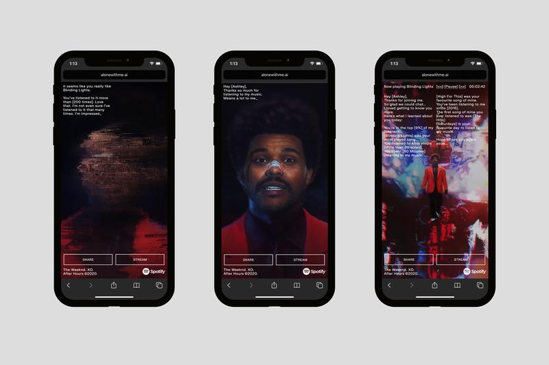 """Spotify The Weeknd """"Alone with Me"""" AI Experience phone listening session chat data artificial intelligence"""