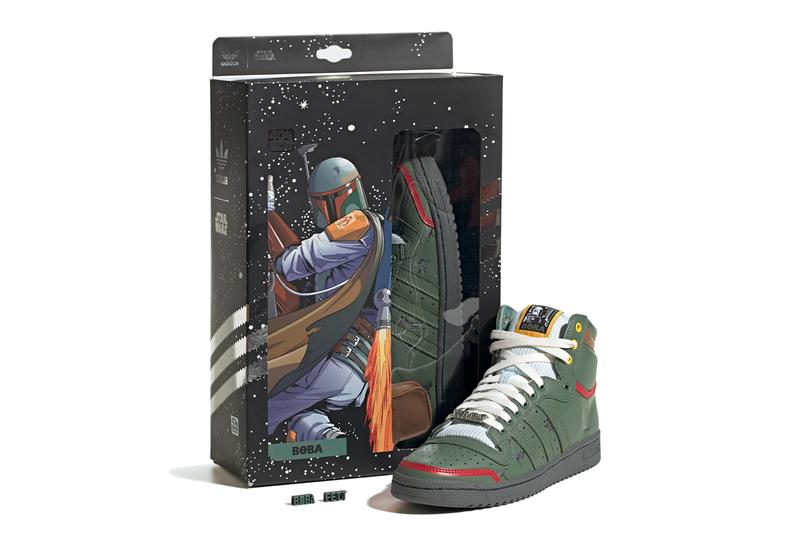 star wars adidas originals top ten hi high boba fett trace green scarlet brown yellow white FZ3465 official release date info photos price store list buying guide