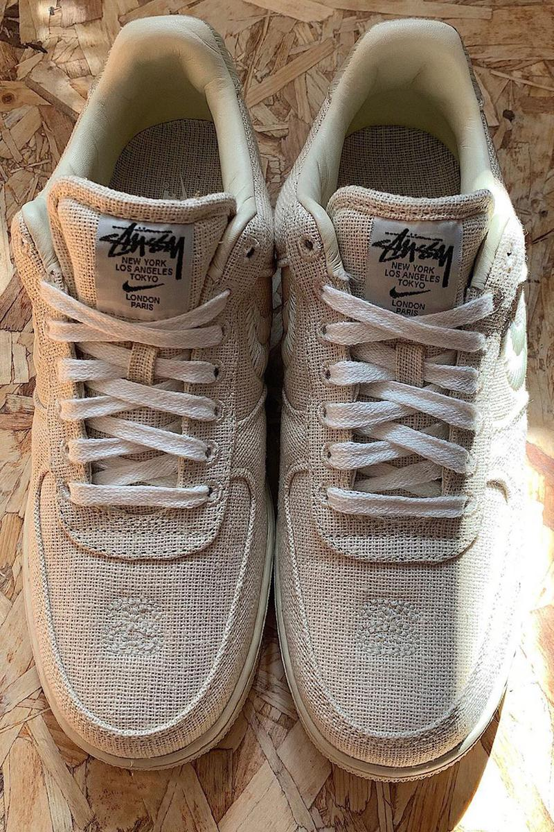 stussy nike sportswear air force 1 low canvas textile fossil stone first look official release date info photos price store list buying guide