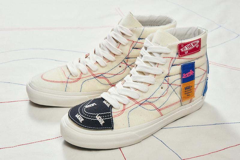 taka hayashi vault by vans diy pack sk8 hi old skool patches velcro white red blue official release date info photos price store list buying guide