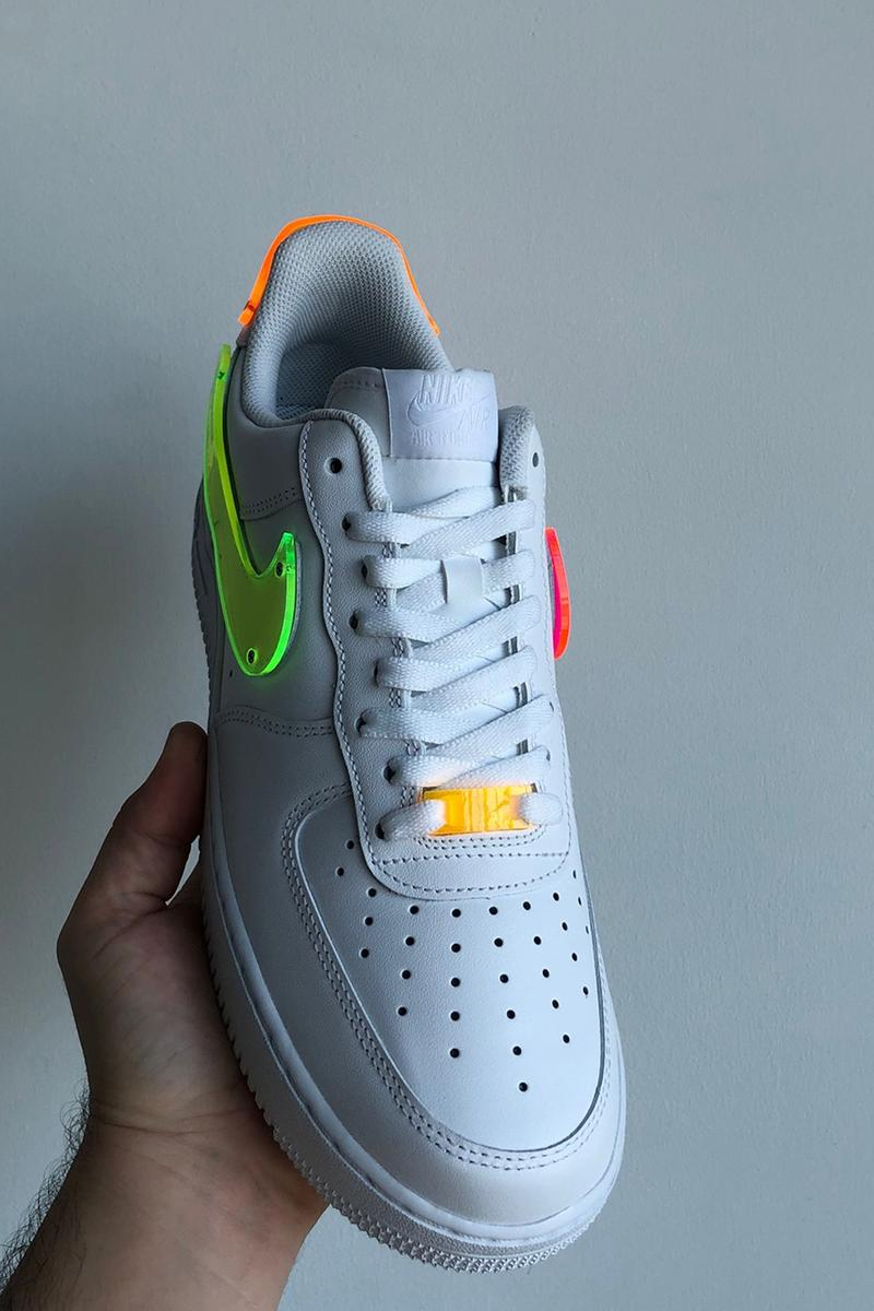 "TBD In Process Custom Multi-Color Thermoformed Nike Air Force 1 ""White"" OG Sneaker Release Information Customized Closer First Look Footwear Drop Date Instagram Kicks Swoosh Neon"