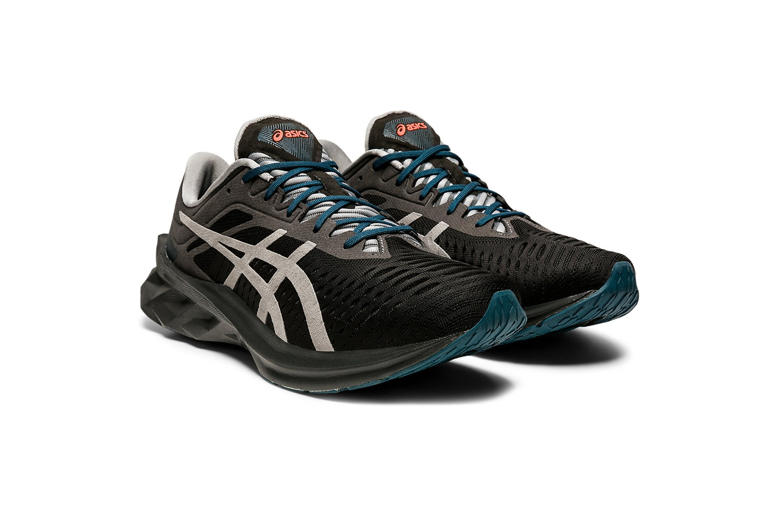 The ASICS NOVABLAST Sneaker Enhances Dynamic Movement Mr Shirley Black Cyan