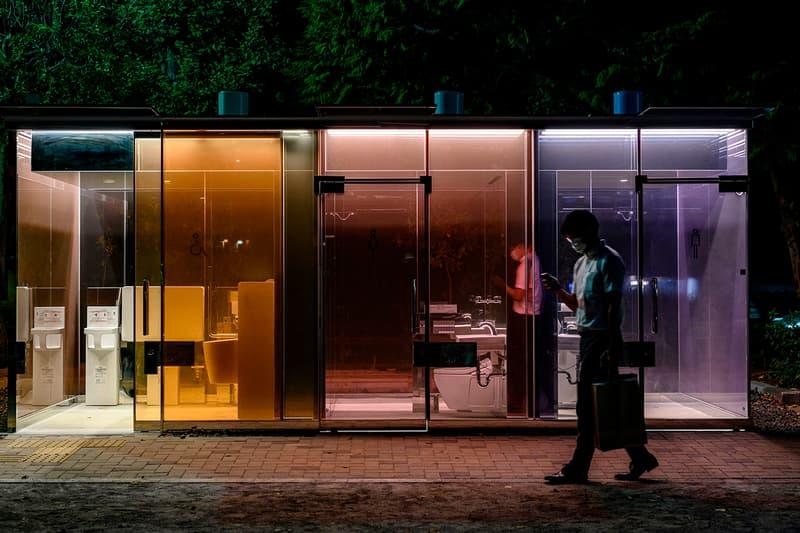 Tokyo Experiments Transparent Public Restrooms shigeru ban park japan lavatory opaque wc washroom toilet