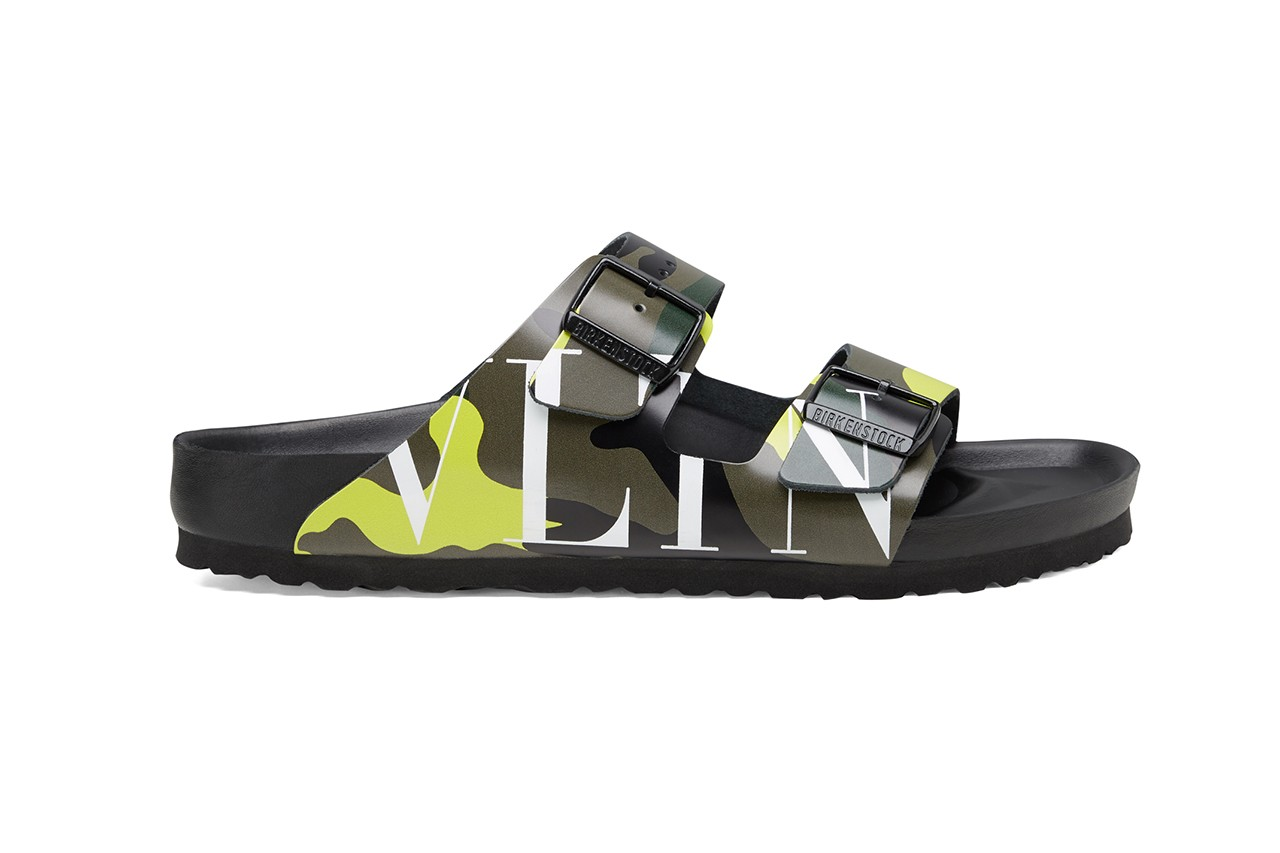 Valentino x Birkenstock Arizona Summer 2020 Collaboration Collection Sandals Pierpaolo Piccioli Shoes Footwear SS20 Runway VLTN Camouflage Print Pattern Motif Design Army Green-Brushwood Lime Drop Date Release Information Campaign